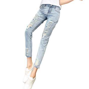 Women's High-Waist Skinny Jeans Distressed Light Wash