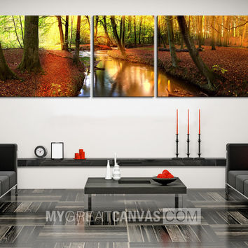 Large Wall Art Forest and River Landscape in Autumn Canvas Print | 3 Panel Large Size Canvas Art Print | Art Canvas Painting Forest Stream