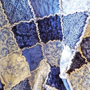 Rag Quilt, Blue and White, Large Lap Quilt, Floral and Scrolls