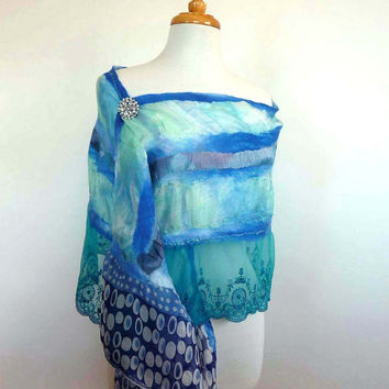Elegant Blue Silk Scarf - Silk and Lace Nuno Felted Stole - Wedding Accessories