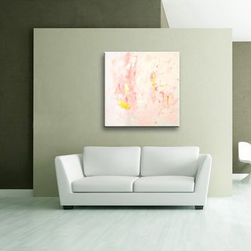 Pink Gold White Original Abstract Painting on Canvas Wall Art  32x32 inch AU03