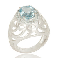 925 Sterling Silver Blue Topaz Gemstone Designer Dome Ring
