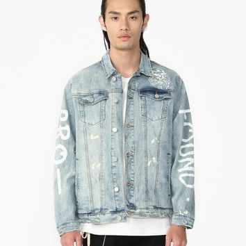Destroyed Light Blue Denim Painted Trucker Jacket