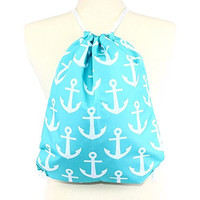 Anchor Drawstring Backpack Bag with Rope Shoulder Straps - 17-in (Aqua)