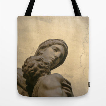 "Golden Renaissance Art Print Tote Bag, Featuring photograph of Micheangelo's ""Madonna and Child"",  Canvas Bag, Christmas Gifts."