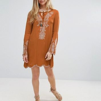 Lunik Embroidered Smock Dress at asos.com