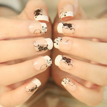 24 Pcs Love roses Fake Nails = 1929472580