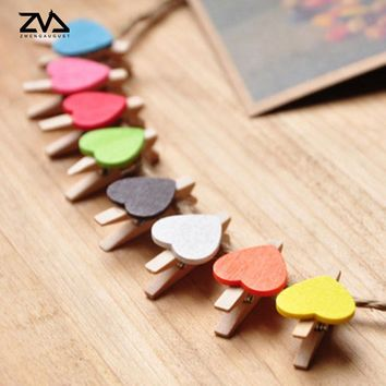 10 pcs/lot Cute multicolor Love Heart spring Wood Clip Photo Clips For Clothespin Craft Clips Party decoration Clip Hemp Rope