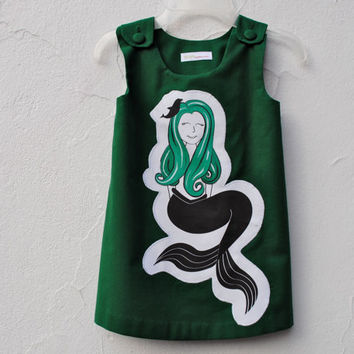 Mermaid Girls Dress - Toddler Baby Dress in Emerald Green - Eco Friendly, Nautical, Spring, Kids Fashion (Ready to Ship in 2T)