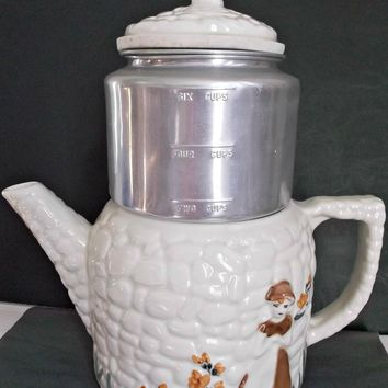 Porcelier Vitreous China Coffee Pot Cobblestones Dutch Girl Tulips