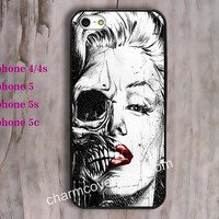 Marilyn Monroe skull,skull case,iPhone 5 ,5s,5c and iPhone 4 / 4s Plastic/rubber Hard iPhone case Picture Custom iPhone