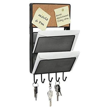 Wall Mounted Mesh Metal 2 Slot Mail Sorter with Cork Memo Board amp 5 Key Hooks Black