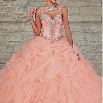 Buy discount Chic Tulle & Organza Spaghetti Straps Neckline Floor-length Ball Gown Quinceanera Dress at Dressilyme.com