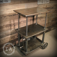 Vintage Industrial Die Cart Rolling Table Bar  Entertainment Center Plant Stand Shelf Display Kitchen Island Crank Book Case