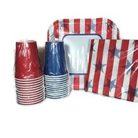 Patriotic Party Supplies Pack Stars and Stripes - Plates, Napkins, 2 Sets of Cups - Memorial Day, 4th of July, Birthday, Picnic