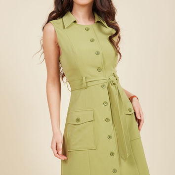 Engaging Editorialist Shirt Dress in Pear | Mod Retro Vintage Dresses | ModCloth.com