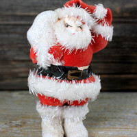mid century santa flocked paper mache faux fur made in japan
