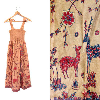 Hippie Tank Dress DEER FLORAL Print Festival Sun Dress Vintage 80s Cotton Ruched Sundress Peach Boho Fantasy 70s Tree Print Dress XS Small