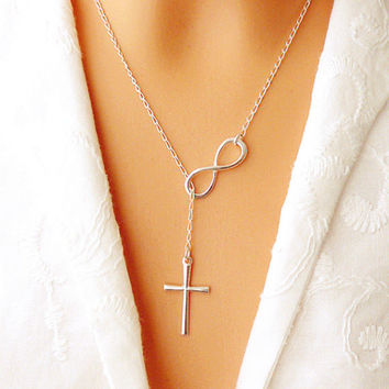 Lovely Chic infinity crosses on a long silver chain necklaces for women jewelry gift