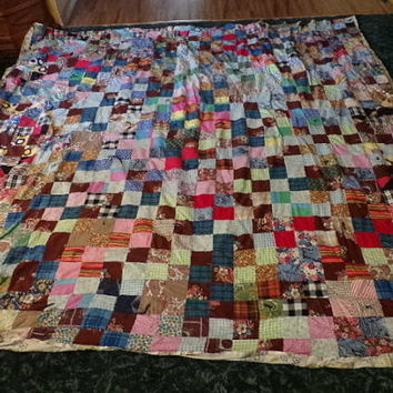Large, beautiful handmade patch quilt from 1953. Made with love. Bed spread, blanket, quilt