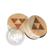 Tri Force Engraved Wood Plugs