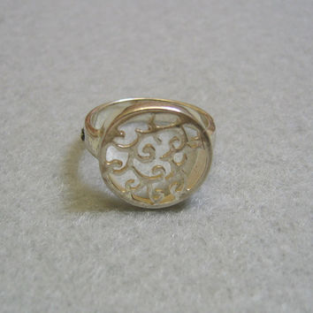 Signet Style Sterling Ring, Open Design, Size 7