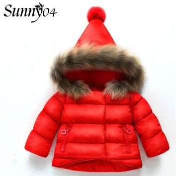 Hot Sale Baby Girl Winter Down Coat 2017 Kids Warm Clothing Children Thick Outwear Infant Fur Hats Padded Jacket Beige Red Black