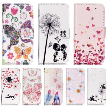 DEEVOLPO Dandelion Cases For iPhone 8 7 Plus 5C 5S 6S Plus Flower Covers For Touch 5 6 Romantic Couple Lady Flip Phone Bags DP37
