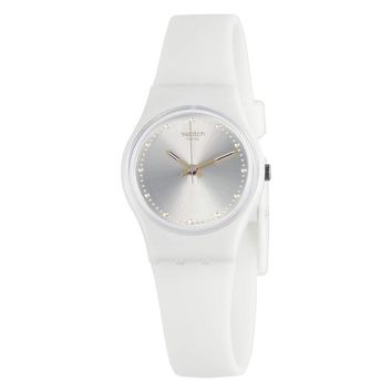 Swatch White Mouse Sun- Brushed Silver Dial Ladies Watch LW148