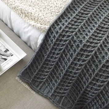 Crochet Pattern - Hayden Chevron Blanket/Afghan/Rug PATTERN (includes 3 sizes: stroller./baby blanket, crib blanket, and afghan)