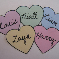 one direction heart stickers (set of 5)