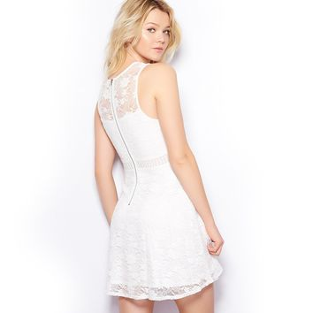Lace Fit & Flare Dress With Crochet