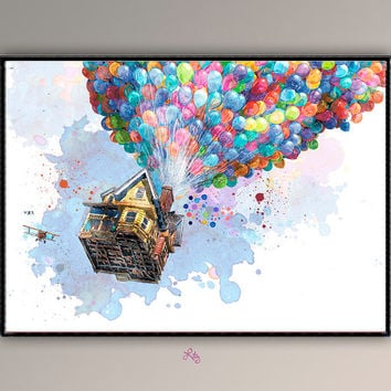 "Up the Movie ""Flying home""  EXTRA LARGE  Watercolor Nursery Poster for Chidren's Room Wall Decor Movie  Poster A719"