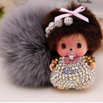 Cartoon Monchichi sleutelhanger monchhichi keychain real rabbit fur pom pom Crystal pompom Key chain Women bag charm car pendant