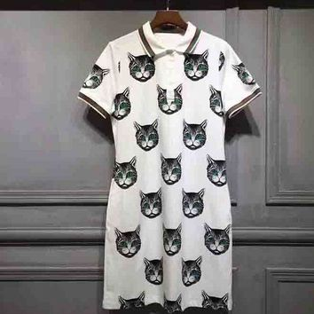 DCCKJ1A GUCCI Small Fresh Women Stylish Cartoon Cat Print Short Sleeve Lapel Dress White I-G-JGYF