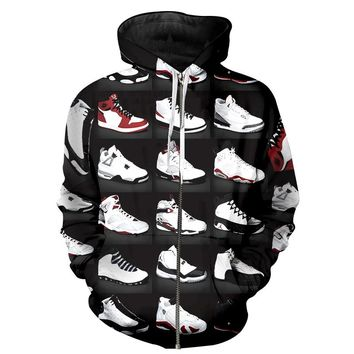 2017 Hoodie Zipper Men Sweatshirts JORDAN 23 Classic Shoes 3D Print Unisex Hip Hop Streetwear Hooded Zipper Coat Brand Clothing