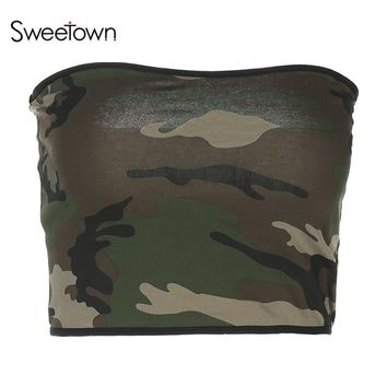 Sweetown Sexy Camouflage Summer Tube Top 2018 Women Fashion Casual Camo Strapless Tank Top Contrast Color Workout Tops For Women