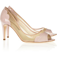 Rupert Sanderson Cerise patent-leather and mesh pumps – 60% at THE OUTNET.COM