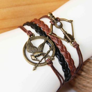 bird and arrow bow bracelet bronze cotton wax cord PU pigtail pearl multilayer summer trending simple fashion friendship graduation gifts