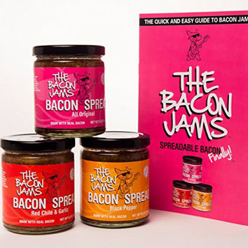 Bacon Spread - The Bacon Jams Gift Pack Sampler With Recipe Guide - Three 8.5 oz Jars