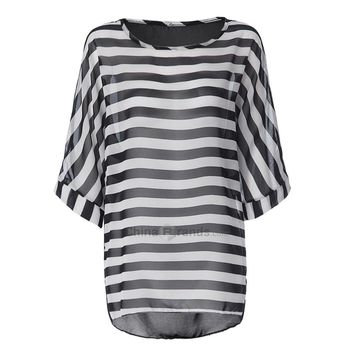 Striped Tunic Beach Cover Up Dress