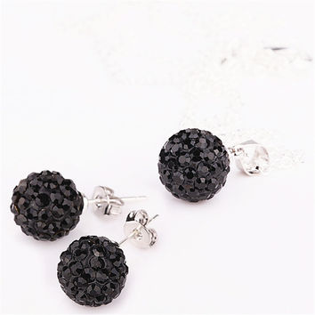 Jewelry set women's fashion 2016 new silver women ab white 10mm ball earrings pendant necklace shamballa set 24 colors