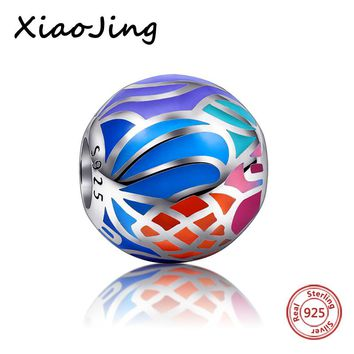 High Polishing Colour With Blue Enamel beads Silver 925 charm jewelry DIY Pendants Charms Fit  Authentic Pandora Bracelets Gifts