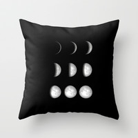 Moon Phases on Black Throw Pillow by Kate