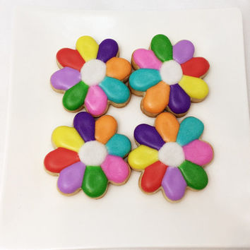 Flower Sugar Cookies,Rainbow Flower Sugar Cookies