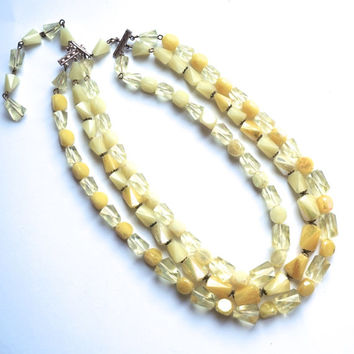 Vintage Bead Necklace, Yellow Necklace, Triple Strand Necklace,Made in West Germany,Spring Jewelry,Bib Necklace,Signed Jewelry, 50s Jewelry