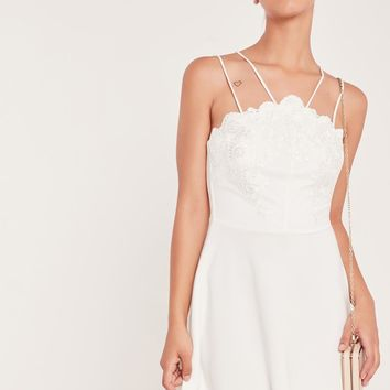 Missguided - Lace Top Double Strap Skater Dress White