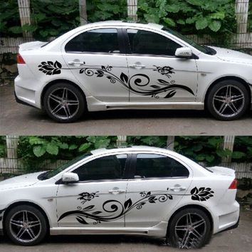 Car-styling Beautiful Natural Flower Waist Line Sticker Butterfly Automobiles Decoration Decals