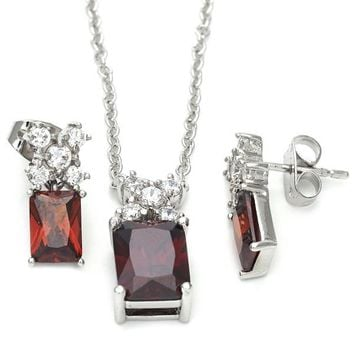 Sterling Silver Earring and Pendant Adult Set, Flower Design, with Cubic Zirconia, Silver Tone