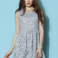 Flowery Embellished Mesh Dress in Grey  Grey